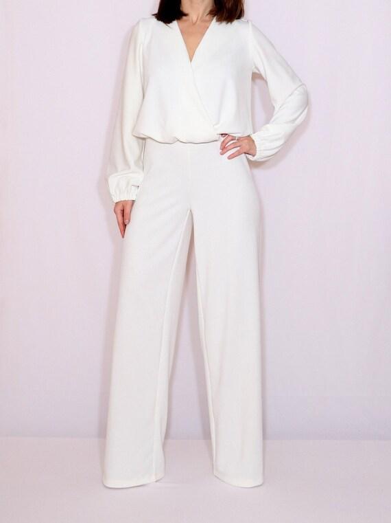 Off white jumpsuit women Ivory jumpsuit Long sleeve jumpsuit