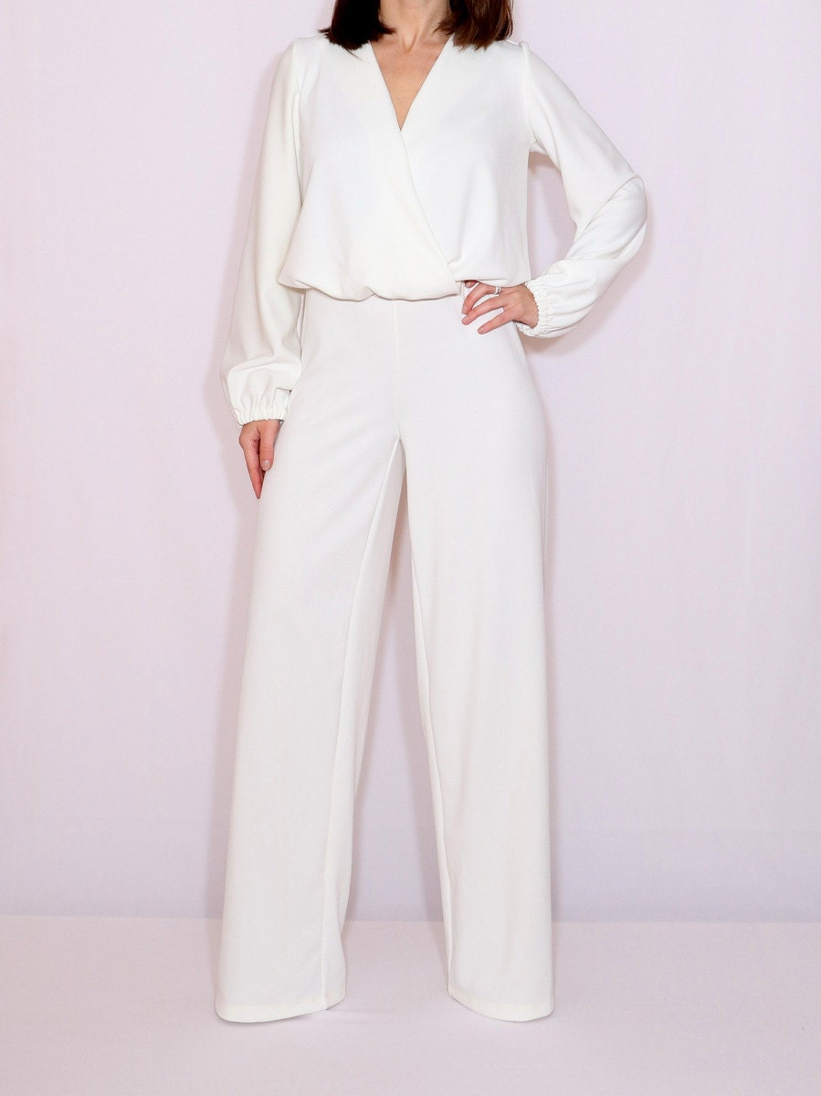 Off white jumpsuit women Ivory jumpsuit Long sleeve jumpsuit