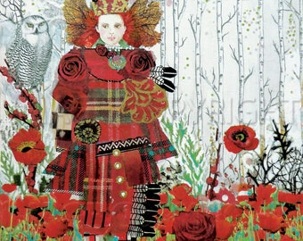 """A Brave Highland Lassie Print from original collage series """"Same Face, Different Day""""Scotland, tartan, red poppies, owl, warrior girl,clan"""