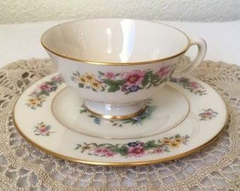Lenox Tea Cup and Saucer, Avon Tea Cup and Saucer, Vintage Floral Tea Cup and Saucer