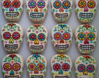 Sugar Skull Cookies - One Dozen Decorated Day of the Dead / Dia de los Muertos Cookies