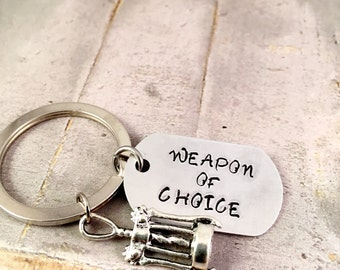 Corkscrew Keychain, Wine Opener Keyring, Weapon of choice Keychain, wine club Keyring, ladies keychain, wine lover