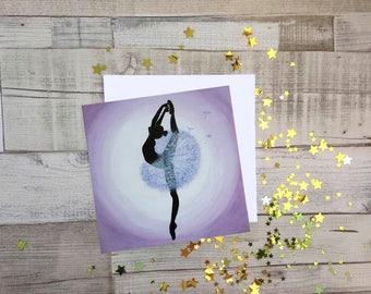 Dandelion Ballerina, Fine Art, Blank Greetings Card, UK Seller.