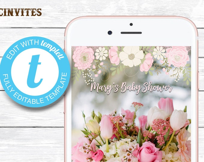 FLORAL Baby Shower Geofilter, Floral Baby Shower SnapChat, Snapchat Geofilter, Baby Shower Geofilter, Floral Shower Geofilter, Floral Shower