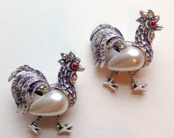 Pair Of Rooster Scatter Pins