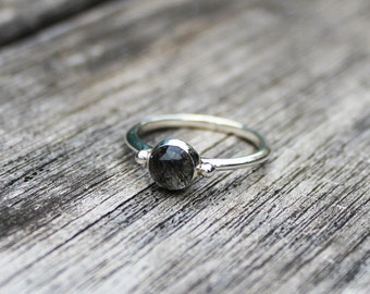 Rutile Quartz Stacking Ring, Delicate Silver Stacker