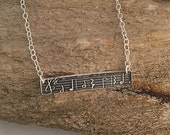 Handmade Fine Silver Musical Necklace Music Sheet Pendant | Sterling Silver Bar Necklace with Music Notes | Music Jewelry for Music Lover
