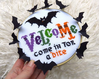Halloween Cross Stitch Pattern PDF, Halloween Pattern, Halloween Décor, Sampler, Halloween Decorations, Halloween Crafts, Velcome