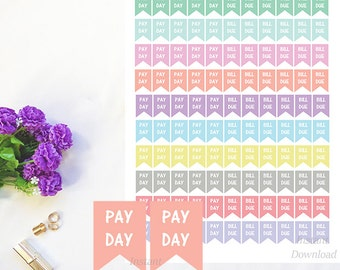 Printable Stickers, Pay Day Stickers, Bill Due Flag Stickers, Pastel Planner Stickers, Money Stickers, Happy Planner, Erin Condren Stickers
