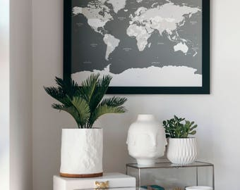 "Push Pin World Travel Map | Black 18"" x 24"" Frame 