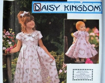 "Girls Dress, Flared Skirt Dress, Daisy Kingdom, Simplicity 9097,  18"" Doll Dress Pattern, Sewing Pattern, Party Dress, Girls Size 5 6 7 8"