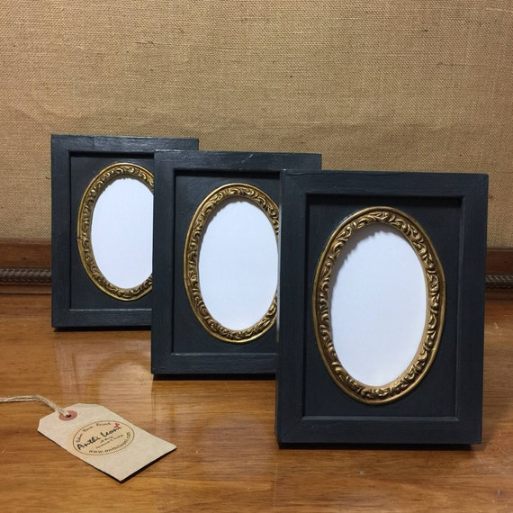 Black Gothic Antique Style Oval Mount Frame Set with Gold - Rose Gold - Copper Silver Gilding - Ornate Decorative Portrait Frame Set of 3