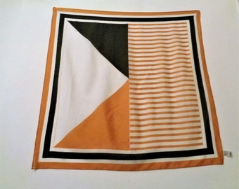 Vintage Boselli Scarf, Brown yellow Scarf, Trevira, made in Italy, Polyester Scarf, 29''/ 74cm