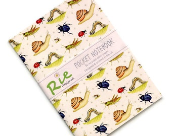 Invertebrates Notebook A6 Recycled Plain Paper Journal Jotter Notebook Sketch Insects Bugs Pocket Minibeasts Note Book