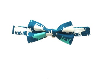 Rhinoceros Bow tie, Navy Blue Bow Tie, Pre-tied bow tie, Christmas Gift, Stocking Stuffer, Men's Bow Tie, Cotton Bow Tie, Bowtie, Bow Ties