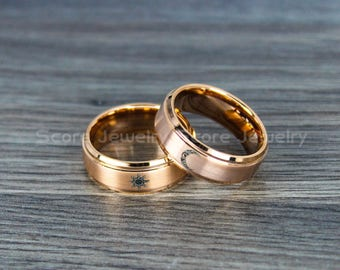 FREE SHIPPING Custom Engraving 2 Piece Couple Set Tungsten Bands With Step Edge Tribal Sun