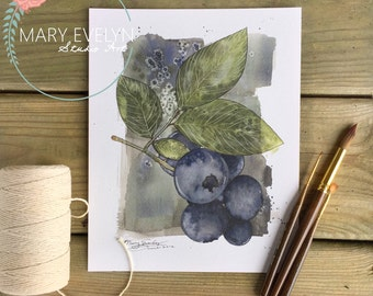 Blueberry Medley Print of Original Watercolor and Ink