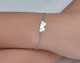 PERSONALIZED HEART BRACELET // Initial Heart Bracelet - Silver Heart Bracelet - Monogram Bracelet - Personalized Bracelet - Letter Bracelet