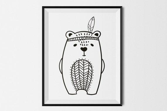 Bear Illustration Children's Art Print, Digital Download,Printable Poster Black & White Bear Nursery Wall Art, woodland Modern Kids Print