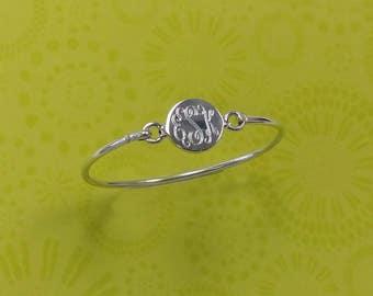 3-6 Year Children's Sterling Silver Bangle Bracelet, Monogram Bracelet