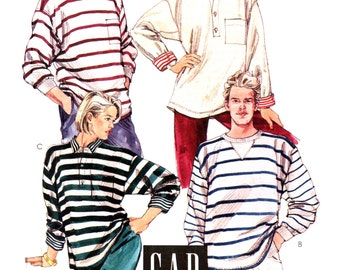 80s McCall's 4550 The Gap Men's Classic Long Sleeved Pullover Henley Tops, Uncut, Factory Folded, Vintage Sewing Pattern Size 40-42