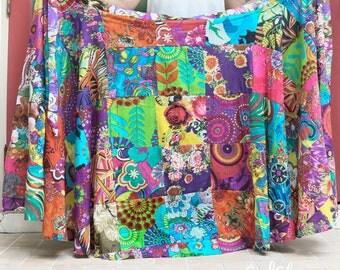 Handmade Patchwork Wrap Skirt, Gypsy Boho Chic Summer Long Skirt, Maternity Comfy Free Size Tie Skirt, SK0711