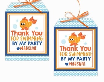 Personalized Goldfish Party Printable Hang Tags, Fish Bowl Custom Thank You Tags, Fish Party, 3x4 Gift Tags
