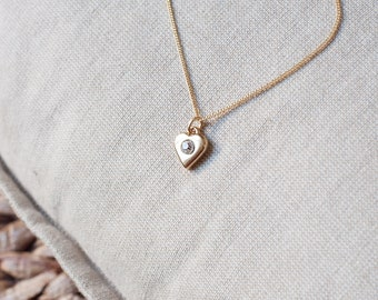 Heart Necklace Gold Plated Chain, Tiny Heart Charm Necklace, Dainty Necklace Bridesmaid Gift, Rhinestone Heart Pendant, Gold Plated Necklace