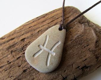 Pisces Pendant, Engraved Beach Pebble Pendant with Zodiac Sign Pisces, Men's Pendant