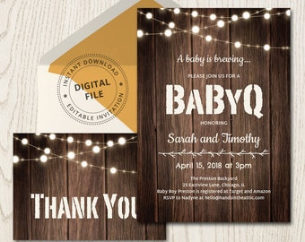 Coed baby shower invitations, babyq barbecue invite gender neutral, backyard rustic string lights, couple for girls for boys instant DIGITAL
