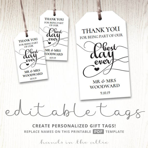Gift tags for wedding day, thank you best day ever, wedding favor ...