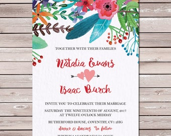 Flower Topia Floral Wedding Invitation