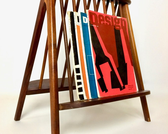 SOLD Umanoff Mid Century Modern Teak Magazine Rack