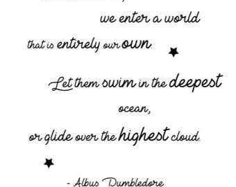 Albus Dumbledore Inspirational Quote, In Dreams, Harry Potter A4 printable