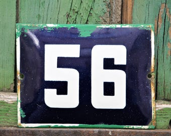 House Number Plaque - Housewarming Gift - French Vintage Number 56 - Outdoor House Number - Enamel House Sign - Number 56 Sign - Street Sign