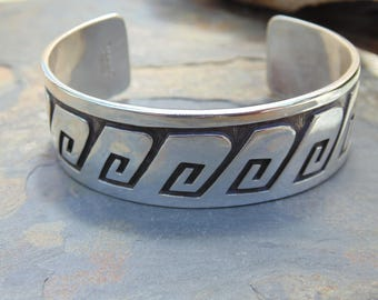 Manuel Hoyungowa ~ Vintage Hopi Sterling Silver Overlay Cuff Bracelet - 34 Grams