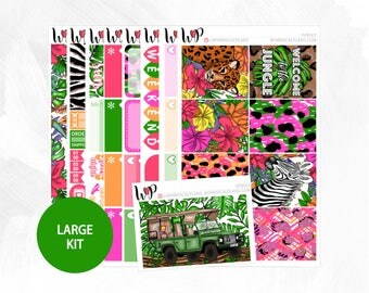 Jungle Large Kit - Matte or Glossy Erin Condren Planner Stickers -
