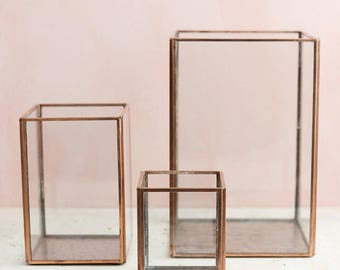"Copper Glass Terrarium Square 3 Sizes 4"" 6"" 9"" Available"