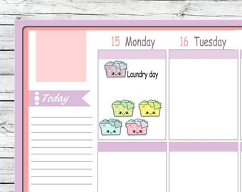 Itty Bitty Kawaii Laundry Basket Stickers To Use With Erin Condren Planner