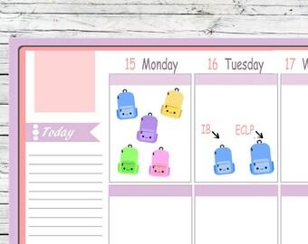 Kawaii IB or ECLP Backpack Stickers Planner Midori  Notebook Calendar Journal Use With Erin Condren Planner