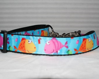 "Happy Fish Dog Collar - Choose Side Release Buckle or Martingale  (1"" Width)"