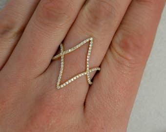 14K Yellow Gold Ace of Diamonds Ring