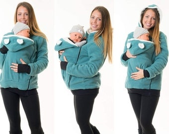 Padded carrying jacket for baby sling carrier wearing sweater winter polar bear