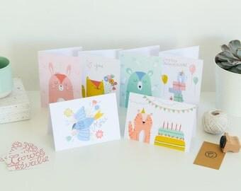 Lot de 6 cartes de voeux illustrées - Animaux mignons