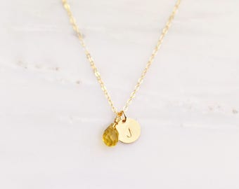November Birthstone Necklace / Citrine Necklace / Bridesmaid Necklace / Gold Filled Initial Necklace / Personalized Necklace