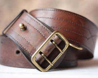 Gorgeous French Officer's Chunky Leather Belt, Vintage Belt, Tan Leather Belt