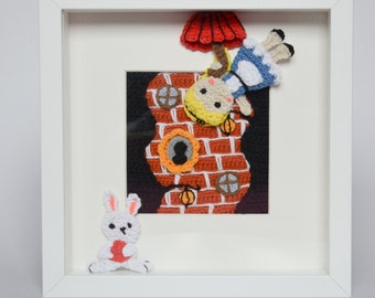 Crochet PATTERN - Picture frame - Alice falling down the rabbit hole - pattern by Krawka, Alice in Wonderland, nursery,  wall decor
