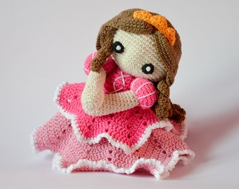 Crochet PATTERN No 1704 Princess lovey by Krawka princess newborn plush