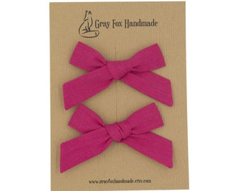 Hot Pink Hand-Tied Bow // Pigtail Set