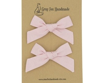 Baby Pink Hand-Tied Bow // Pigtail Set